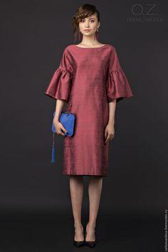Silk dress with ruffle sleaves