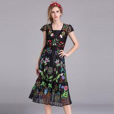 Encontre mais Vestidos Informações sobre Bordado mulher longo vestido de verão 2016 nova alta qualidade elegante vestido de festa preto plus size 2 pcs roupas femininas vestidos de luxo, de alta qualidade vestido pescoço, vestido de rato China Fornecedores, Barato vestidos mãe da noiva de Vogue Supermarket em Aliexpress.com