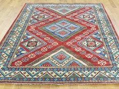 Hand-Knotted Pure Wool Geometric Design Kazak Oriental Rug- Product:5-10-x6-10-Hand-Knotted-Pure-Wool-Geometric-Design-Kazak-Oriental-Rug-Sh31669