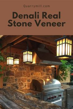 This stunning outdoor covered patio showcases the Quarry Mill's Denali thin stone veneer. #naturalstone #stoneveneer #thinstone #realstone #quarry #freeshipping #coveredpatio #grill #outdoorgrill #backsplash #inspiredbynature #dreamhome #homedesigntips #welcomehome #luxurydesign #grillmaster #madeinamerica #designinspiration #castlerockstone #quarrymill #designideas #stonedesign #naturalstoneveneer #realstoneveneer #outdoorliving Real Stone Veneer, Natural Stone Veneer, Natural Stones, Castle Rock, Made In America, Curb Appeal, Backsplash, Outdoor Living, House Design