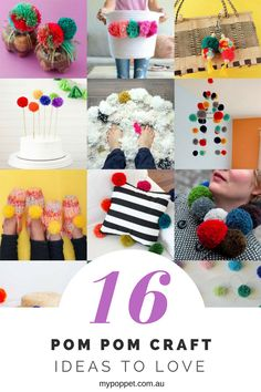 16 Pom Pom Craft Ideas to Love for Kids and Grown fabric crafts ideas - Fabric Crafts Diy And Crafts Sewing, Diy Crafts To Sell, Fabric Crafts, Paper Crafts, Homemade Crafts, Art Crafts, Mason Jar Crafts, Mason Jar Diy, Craft Stick Crafts