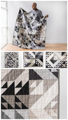 Modern Technology Solids Earl Grey Expand-A-Quilt Kit by Monique Jacobs featuring Boundless Solids for Craftsy. A modern approach with traditional units, create this unique design with fat quarter bundles! Modern Technology, by Monique Jacobs, twists and turns a traditional Birds in the Air block for a one-of-a-kind look. Masculine quilt pattern. Modern quilt pattern. Affiliate link. #boyquilt