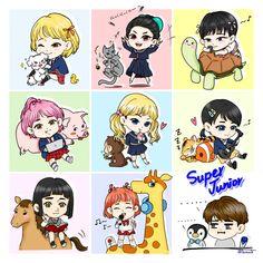 Super junior- Super girls & animals Leeteuk, Siwon, Heechul, Super Junior Songs, Super Junior Funny, Jr Art, Last Man Standing, Cute Chibi, Tvxq