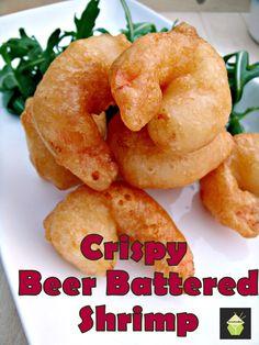 Crispy Beer Battered Prawns/Shrimp. Oh boy.. these are delicious! Light and crispy batter, don't forget the dip! #shrimp #prawn #beerbatter