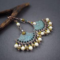 bohemian glass earrings • blue patina fan • tribal • verdigris • boh • gipsy • hippie • rustic jewelry • bicolor • kaki • mother of pearl by entre2et7…