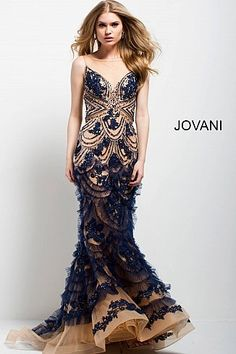 Navy and Nude Embroidered Mermaid Evening Gown 41592