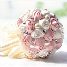 Hand made Ivory Satin rose Stunning Crystal bridal wedding bouquet Decoration  #Faybox