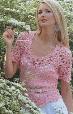 Pink top crochet. Diagrams at site