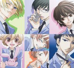 Ouran High School Host Club (Tamaki, Kyoya, Haruhi, Honey, Hikaru/Kaoru, and Mori)