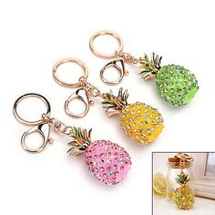 Pineapple Crystal Rhinestone Keyring Charm Pendant Bag Key Ring Chain Keychain#