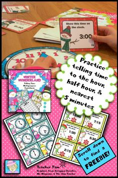 Telling Time Task Cards/Game and a FREEBIE! Students can practice telling time with this versatile card set. Use them as TASK CARDS, for a game of SCOOT, or as a fun CARD GAME. Scroll to the bottom to grab a FREEBIE!