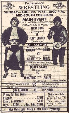 #ThrowbackThursday #Memphis #Wrestling poster for a #NWA World Title match between @RealTerryFunk & @JerryLawler (1976)