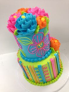 Is it summer yet? We love this colorful little 2 tier buttercream cake with bright colors! Pretty Cakes, Cute Cakes, Beautiful Cakes, Amazing Cakes, Bolo Neon, White Flower Cake Shoppe, Classic Cake, Buttercream Cake, Frosting