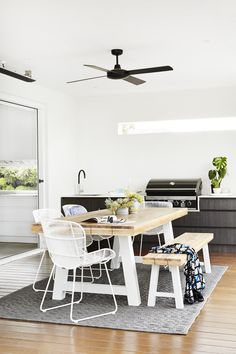 Family friendly — Adore Home Magazine Covered Outdoor Kitchens, Built In Bbq, 1950s House, Deco Addict, Interior Styling, Interior Design, Melbourne House, Living Spaces, Living Room