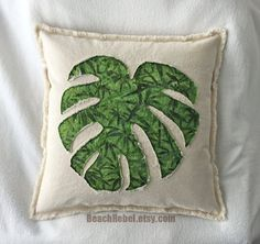 "Tropical leaf pillow cover in green bamboo design batik and natural distressed denim boho pillow cover 18"" by Beachrebel"