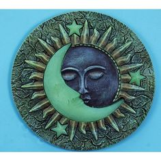 "Sun & Moon Glow in the Dark Stepping Stone, 10"" by Land and Sea. $15.95. 10"". Hollow Resin. This beautiful celestial scene will light up your lawn to match the night sky. with Glow in the Dark features, this sun and moon will light the way to your home or through your garden! A wonderful addition!"