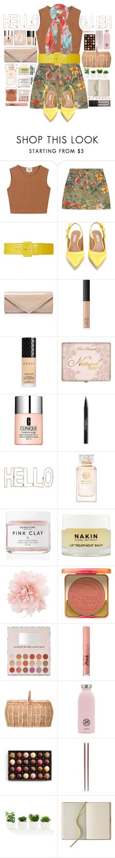 """""""HELLO🌼"""" by helloafinda ❤ liked on Polyvore featuring Samuji, Gucci, Tabitha Simmons, Carvela Kurt Geiger, NARS Cosmetics, Clinique, Trish McEvoy, CAbi, Graham & Brown and Tory Burch"""