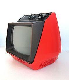 """70s Mod GE Orange Portable 9"""" TV Vintage Television, Television Set, Tv Set Design, Retro Design, Tvs, Radios, Old Technology, Home Deco, Tv Sets"""