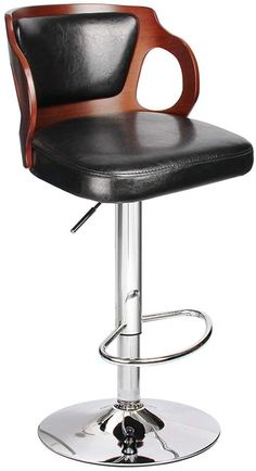 Amazon.com: Homall Bar Stools Walnut Bentwood Adjustable Height Leather Modern Barstools with Back Vinyl Seat Extremely Comfy Bar Stool 1 Piece (Black): Home & Kitchen Cheap Bar Stools, Cool Bar Stools, Wooden Bar Stools, Black Bar Stools, Leather Bar Stools, High Back Bar Stools, Bar Stools With Backs, Counter Height Bar Stools, Upholstered Bar Stools