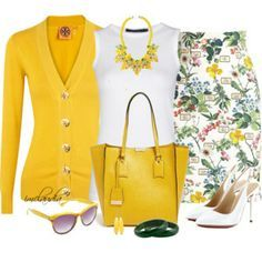 A fashion look from June 2014 featuring fine knit cardigan, white crew t shirt and floral print pencil skirt. Browse and shop related looks. Classy Outfits, Chic Outfits, Pretty Outfits, Fashion Outfits, Womens Fashion, Fashion Trends, Dress Outfits, Fashion Quiz, Hijab Fashion
