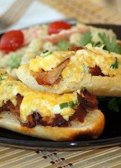 These tasty little sandwiches are knock-your-socks-off good! The crispy garlic bread and spicy pork is all mellowed by the wonderful cheese topping. This is so incredibly delicious and pretty simpl...