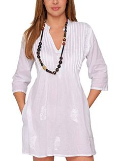 Look what I found on White Pin Tuck Tie-Back Notch Neck Dress Casual Dresses, Casual Outfits, Fashion Dresses, Short Sleeve Dresses, Summer Dresses, Mode Style, Fashion 2020, Blouse Designs, Designer Dresses