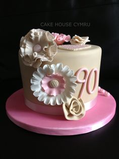 90th Birthday Cake - white,pink and peach flowers