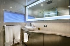 "A guest ensuite bathroom onboard the incredible private superyacht ""Zenith"". Designed by ID Studios Pyrmont"