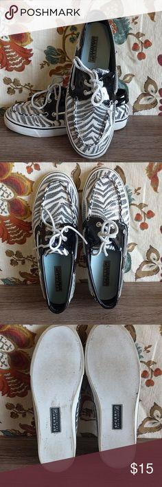 Sperry Zebra Print Boat Shoes So cute! Zebra print with clear sequins on top! Sperrys = comfort. Used, signs of wear shown in pictures! Sperry Top-Sider Shoes Flats & Loafers