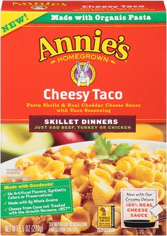 New from Annie's: Cheesy Taco Skillet Dinner! Fun fiesta dinner time for everyone. 100% real cheese sauce, mildly spicy. Ready in about 20 minutes.