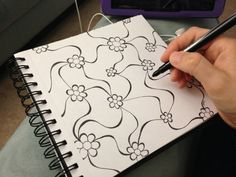Floral Web Doodle sharpie art by Heidi Denney Easy Drawings Sketches, Easy Drawings For Kids, Pencil Drawings, Drawing Ideas, Tangle Doodle, Doodle Art, Doodle Inspiration, Sharpie Art, Zentangle Patterns