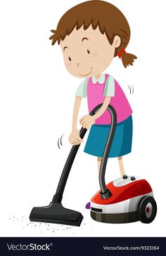Girl vacumming the floor with machine Royalty Free Vector Cute Cartoon Wallpapers, Cartoon Pics, Verbs For Kids, Action Pictures, Doodle Coloring, Colouring, Beautiful Love Pictures, Action Verbs, Early Education