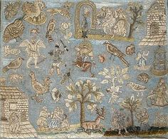 rare 17th century needlework, with raised embroidery and metallic thread