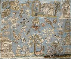 rare 17th century needlework, with raised embroidery and metallic thread