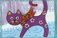 Art 'Funky cat lyndon keeping warm in the arctic' - by Betty Stoumbos from ACEO