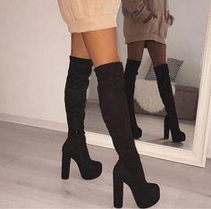 High Heel Boots, Heeled Boots, High Heels, Knew High Boots, Nike Socks Women, Hot Shoes, Shoes Heels, Aesthetic Shoes, Fashion Heels