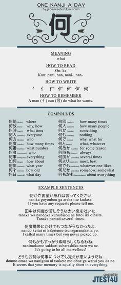 Learn one Kanji a day with infographic - 何 (ka): http://japanesetest4you.com/learn-one-kanji-a-day-with-infographic-%e4%bd%95-ka/