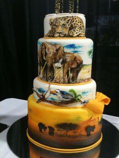 OH...MY GLOB! @bioguy19!! - Hand Painted Safari Cake Wedding Cakes