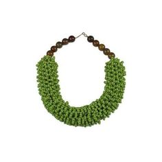 NOVICA Recycled Glass and Agate Beaded Necklace from Ghana ($100) ❤ liked on Polyvore featuring jewelry, necklaces, green, toplevelcatnecklaces, green agate necklace, novica jewelry, glass bead jewelry, agate jewelry and cluster bead necklace