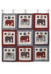 Handmade applique elephant wallhanging, 9 squares