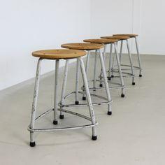 Set of 5 industrial Friso Kramer stools, 1963