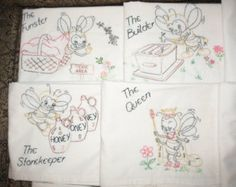 FREE SHIPPING Handmade Embroidered Tea Towels   Busy Bees OOAK