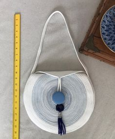 Blue and white round Coiled Rope Purse with Beaded Tassel Diy Purse, Clothes Line, Winter Colors, Handmade Bags, Glass Beads, Tassels, Cotton Fabric, My Etsy Shop, Blue And White