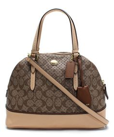 Another great find on #zulily! Khaki & Tan Perforated Peyton Domed Satchel by Coach #zulilyfindshttp://www.zulily.com/invite/mcrockett202