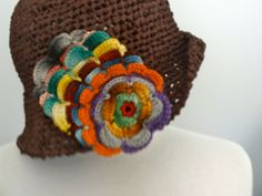 Your place to buy and sell all things handmade Hand Crochet, Crochet Hats, Dmc Floss, Mild Soap, Hat Sizes, Colorful Flowers, French Vintage, Ribbon, Brown