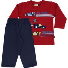 Conjunto Infantil para Menino de Moleton Carro Vermelho - Jaca-Lelé :: 764 Kids | Roupa bebê e infantil