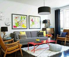 Love this fresh and fun living room makeover. Must see the before to appreciate this fabulous makeover. Its amazing what paint will do! Interior Design Home Mid Century Modern Living Room, Living Room Modern, Home Living Room, Living Room Furniture, Living Room Designs, Living Room Decor, Modern Furniture, Furniture Layout, Furniture Ideas