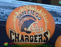 San Diego Chargers Pumpkin - Pumpkin Carvings of Logos and Places - See more here: http://www.vegetablefruitcarving.com/blog/pumpkin-carvings-logos-places-srf/