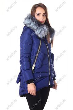 Синяя красивая женская куртка парка с чернобуркой зима 2016