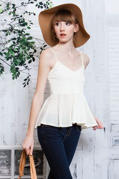 Free Flowing Ivory Spaghetti Strap Knit Peplum Top! #UASpringCollection2015 #KnitTop #Casual